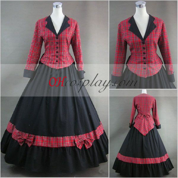 Red lattice Long Sleeve Gothic Lolita Dress