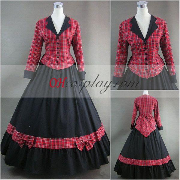 Red Lattice langærmet Gothic Lolita Kjole