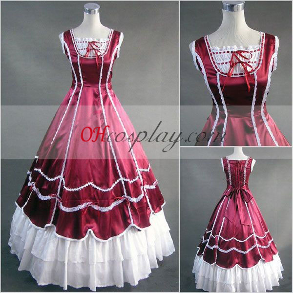 Röd Ärmlös Gothic Lolita Klänning