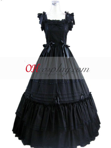Negro sin mangas vestido lolita gótica