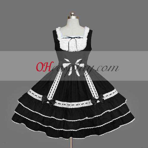 Black Gothic Lolita Dress Sleeveless Gowns