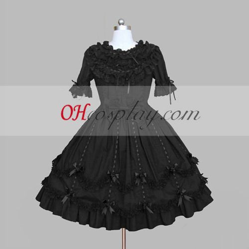 Black Gothic Lolita Dress Short Sleeves Cute Gowns