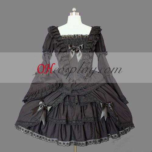 Black Gothic Lolita Dress Cosplay Short Sleeves Gowns