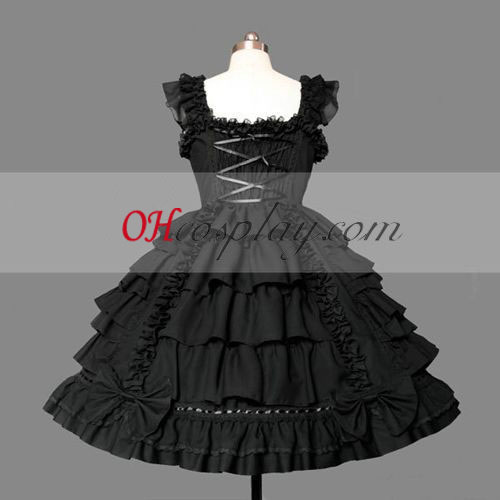Black Gothic Lolita Dress Around Knees Gowns