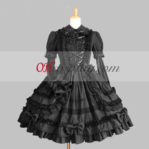 Black Gothic Lolita Dress Long Sleeves