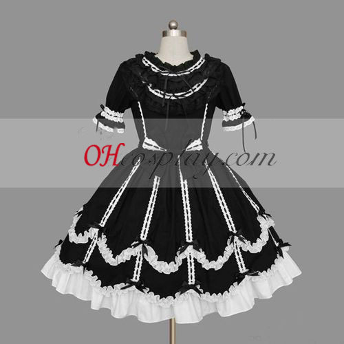 Black-White Gothic Lolita Dress Halloween Cosplay