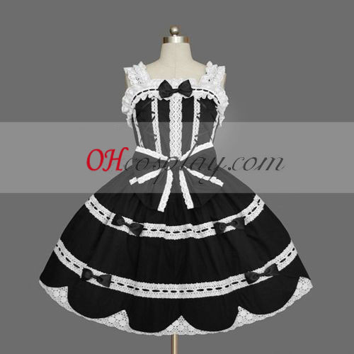 Black Gothic Lolita Dress Around Knees Cosplay Gowns
