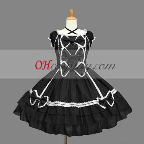 Black Gothic Lolita Dress Japanese Gowns