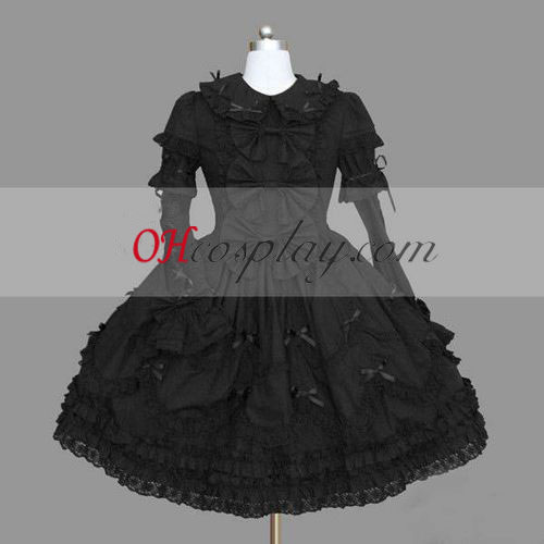Black Gothic Lolita Dress Halloween Style