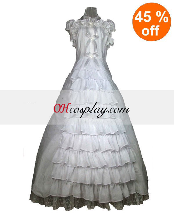 Cutton White Lace Ärmelloses Gothic Lolita Kleid