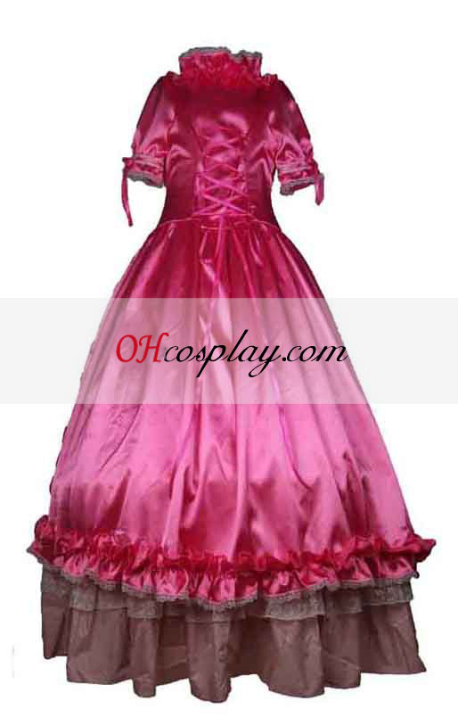 Satin Pink Short Sleeve Gothic Lolita Dress Cosplaymade Com