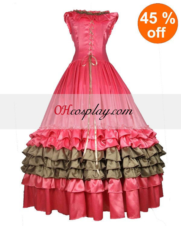 Satin Pink Sleeveless Gothic Lolita Dress