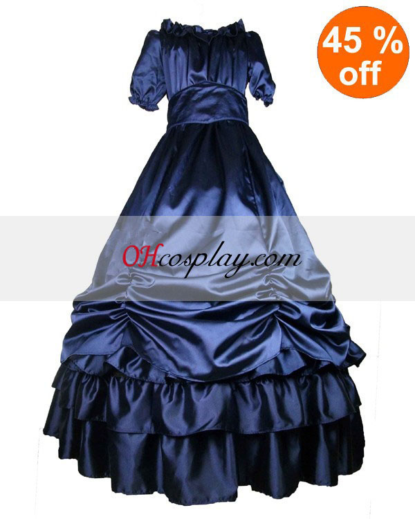 Deep Blue Satin Short Sleeve Klassische Lolita Kleid