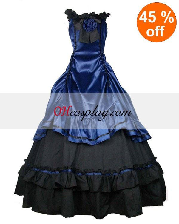 Saténovo modrá čierna Classic Lolita šaty