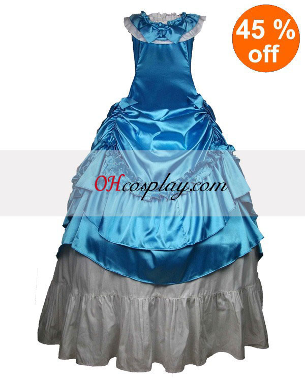 Azul sem mangas vestido Gótico Lolita