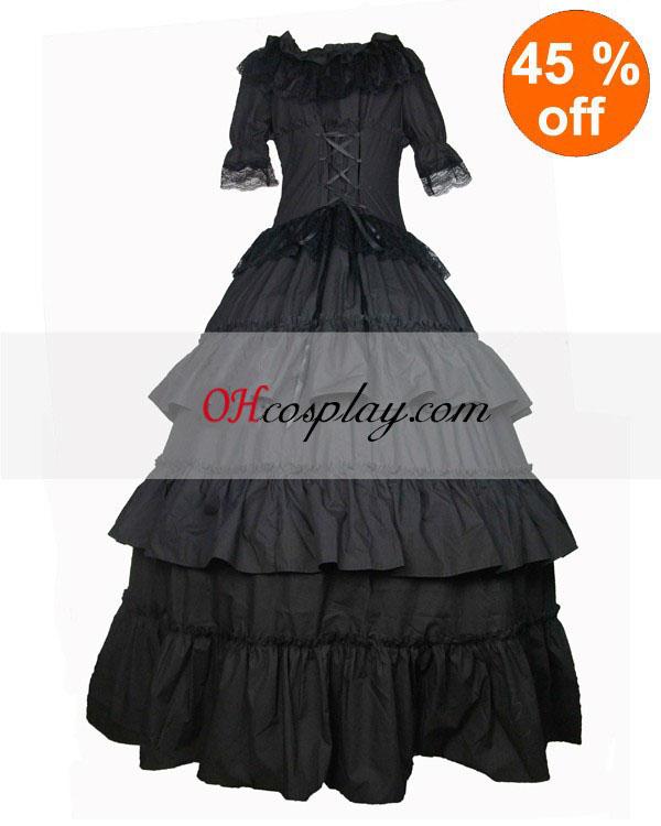 Cutts Short Sleeve Black Gothic Lolita Dress