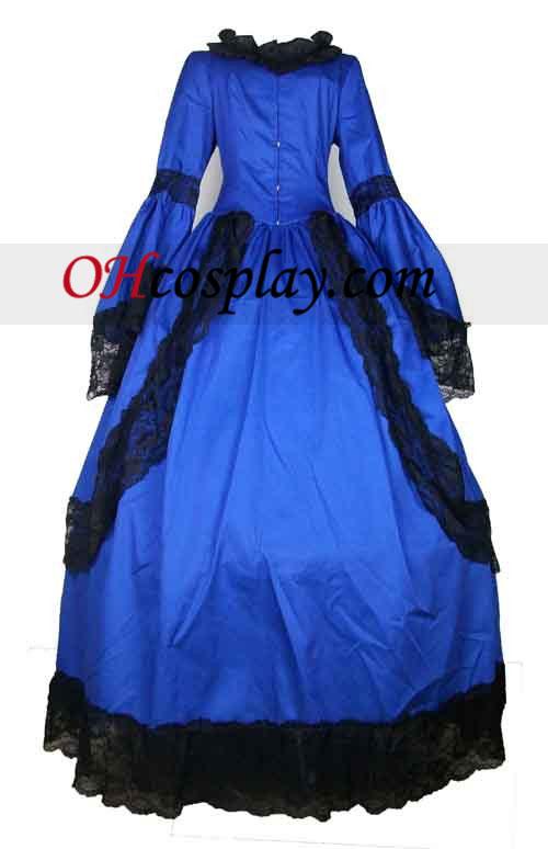 Cutts Blå langærmet Lace Gothic Lolita Kjole