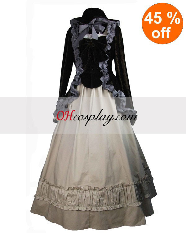 Black Coat and Gothic Lolita Dress with Champagne