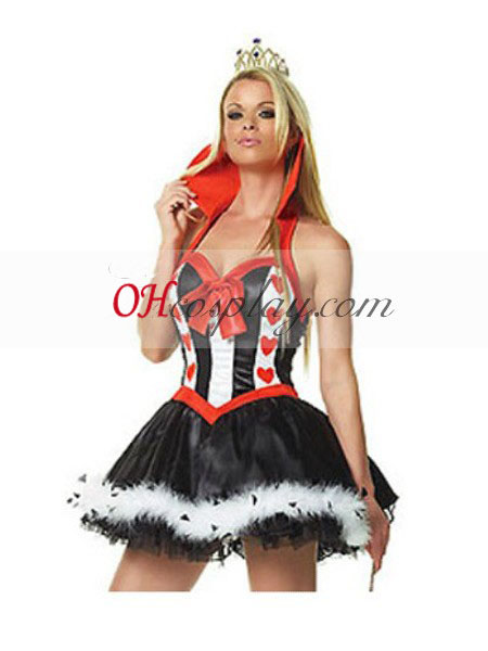 Alice au pays des merveilles Queen of Hearts robe sexy cosplay