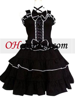 Black Gothic Lolita Cosplay Dress Black with White