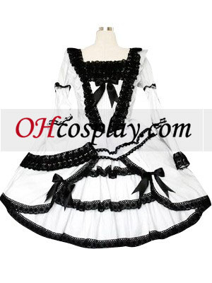 Black And White Lace Trimmad Gothic Lolita Cosplay Klänning