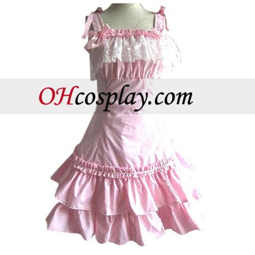 Pink Lace Princess Dress Lolita Cosplay Costume