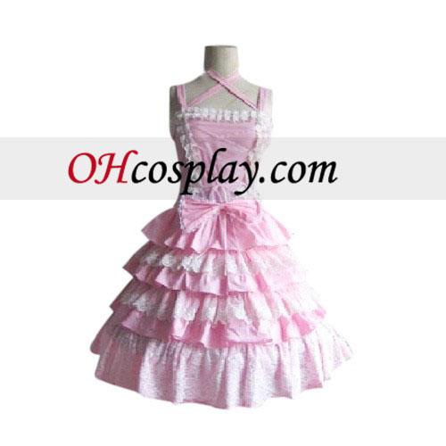 Akármelyikőtök lenyűgöző többrétegű rózsaszín ruhát Lolita öltözet Cosplay