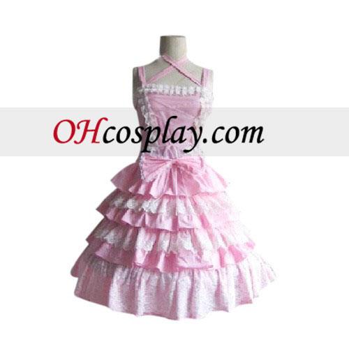 Stunning Tiered Ruffles Pink Dress Lolita Cosplay Costume
