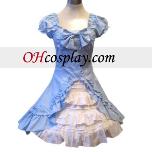 Classic Double Hemlines Blue Dress Lolita Cosplay Costume