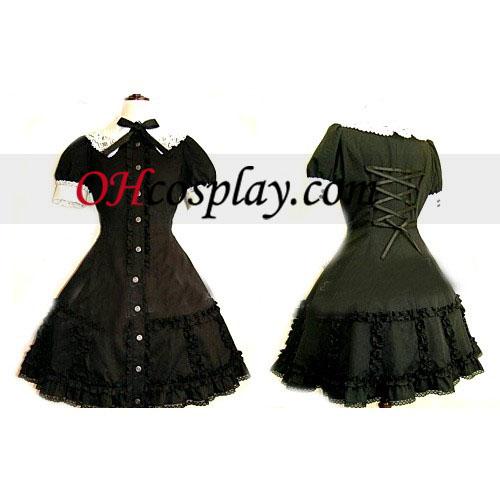 Black Lace Corset Kjole Lolita udklædning Kostume