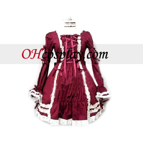 Elegant Burgundy Long-sleeved Dress Lolita Cosplay Costume