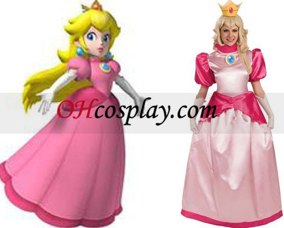 Super Mario Bros Princess Peach Voksen drakt
