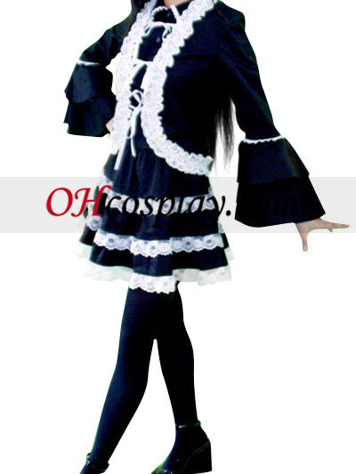 Black lace Lolita Cosplay Costume