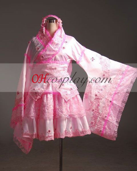 Vocaloid Miku Roze Kimono Cosplay Costume-Advanced Aangepaste