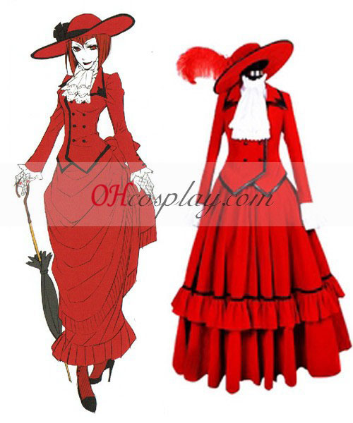 Black Butler Angelina Dulles (madame red) Cosplay Costume- Premuim Edition