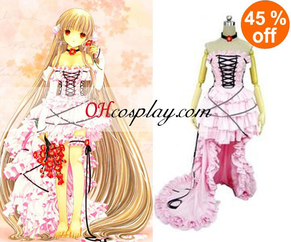 Chobits Chii Pink Dress Lolita Cosplay Costume -Size Small