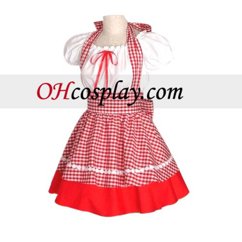 Engraçado Red Plaid Maid Cosplay Lolita Cosplay Traje