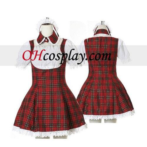 Сладък червен Plaid спално бельо Cosplay Лолита Cosplay костюм
