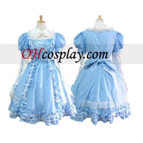 Сладки синя рокля спално бельо Лолита Cosplay костюм