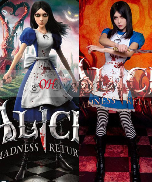 Alice-Madness tilbake Alice Cosplay kostyme