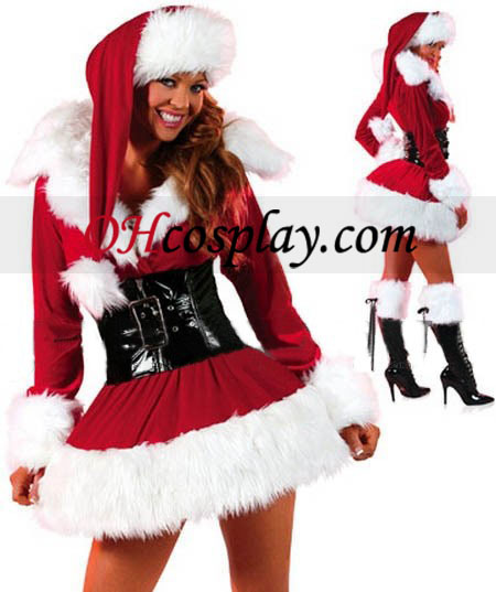 Christmas Red Sex Short Skirt Cosplay Kostym