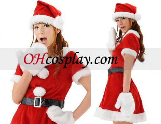 Plush Red Christmas Dress Cospaly Costume