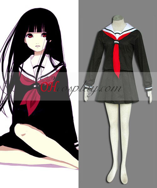 Hell Girl Ai Enma Negro cosplay uniforme