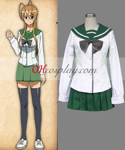 High School of the Dead Miyamoto Rei skoluniform Cosplay Kostym