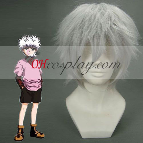 Hunter X Hunter Killua hvit Cosplay parykk