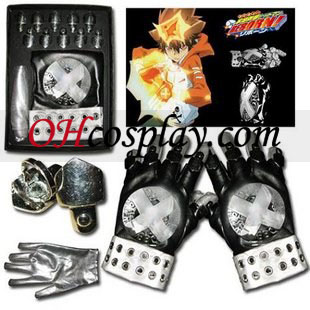 Katekyo Hitman Reborn Kokuyo Gang Cosplay Silver PU Metall Handskar