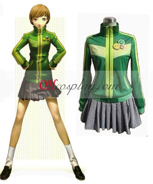 Persona 4 Chie Green Cosplay Kostuum