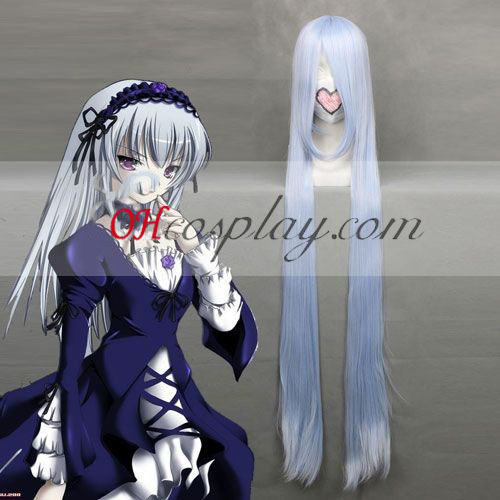 Rozen Maiden Suigintou Light Blue Costume Carnaval Cosplay perruque