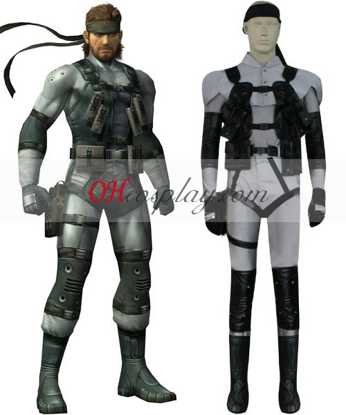 Metal Gear Solid 2 Snake harmaa Cosplay Twin asu