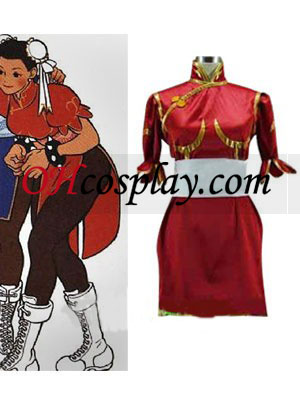 Street Fighter Chun Li red Cosplay Kostym